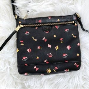 Fossil Triangle Shooting Star Print Leather Bag